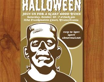 PRINTABLE Frankenstein Halloween Party Invitation or Evite