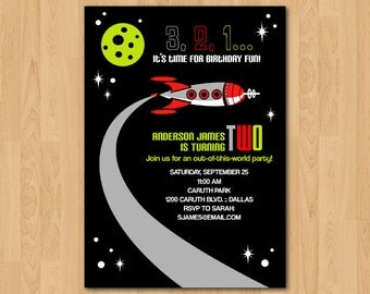 PRINTABLE Space themed birthday party invitation or Evite
