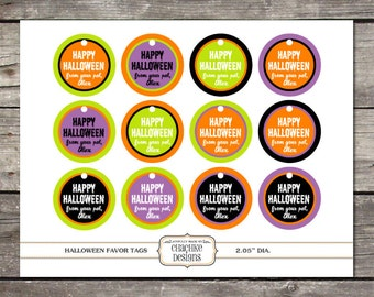 PRINTABLE and PERSONALIZED Halloween themed treat bag tags
