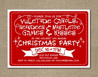 PRINTABLE Personalized Whimsical Christmas Party Invitation