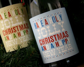 PRINTABLE typography Christmas wine bottle wrappers