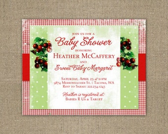 PRINTABLE Cherries baby shower or birthday party invitation