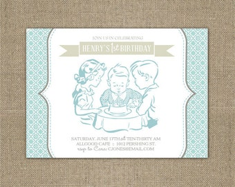 PRINTABLE Vintage First birthday party invitation