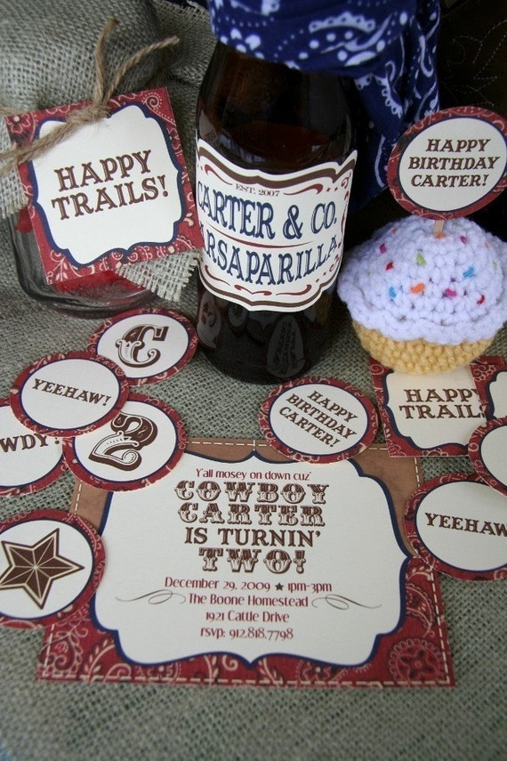 Printable cowboy themed party pack - invitations, cupcake toppers/stickers, favor tags, garland, drink labels