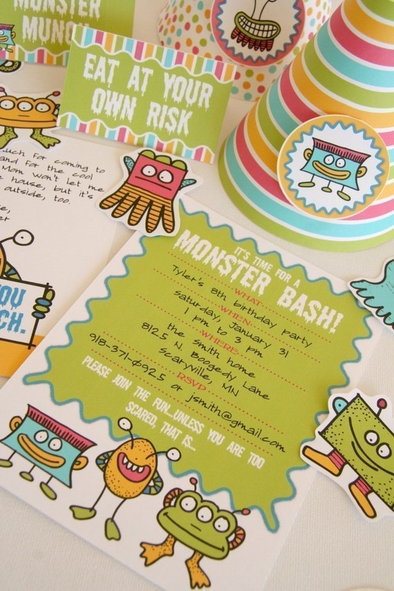 PRINTABLE Monster-themed Party Pack - invitations, thank yous, cupcake toppers, gift tags, party hats