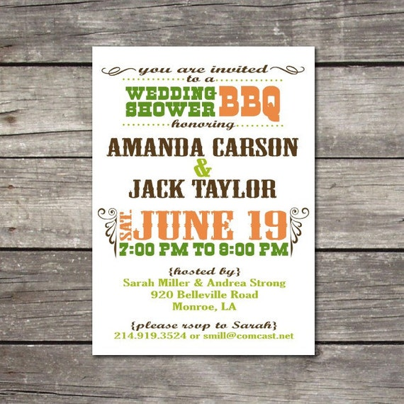 PRINTABLE BBQ-themed birthday party, wedding shower, rehearsal dinner, bachelor party, anniversary invitations