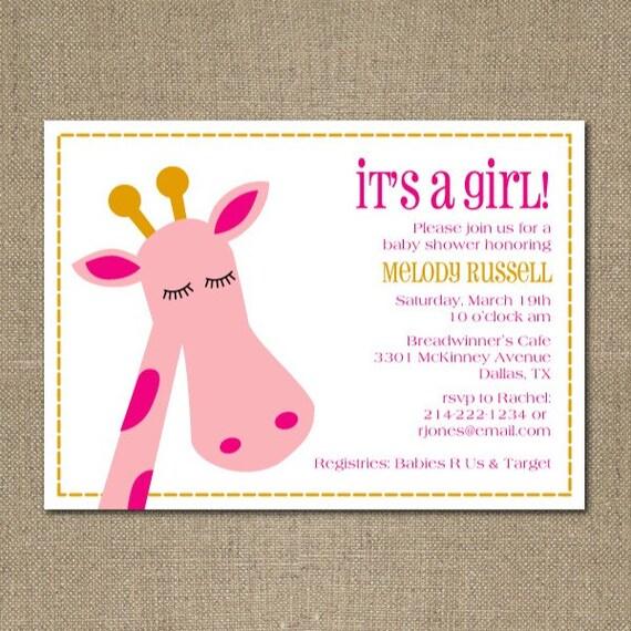 PRINTABLE modern GIRAFFE themed baby girl shower or birthday party invitation