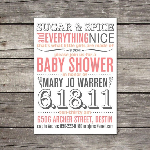 PRINTABLE modern TYPEFACE inspired baby shower invitation