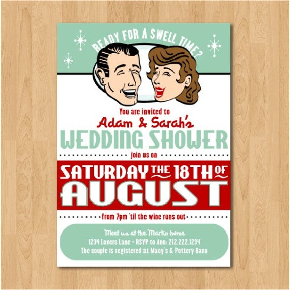 items similar to printable retro dinner party or couples wedding shower invitation on etsy