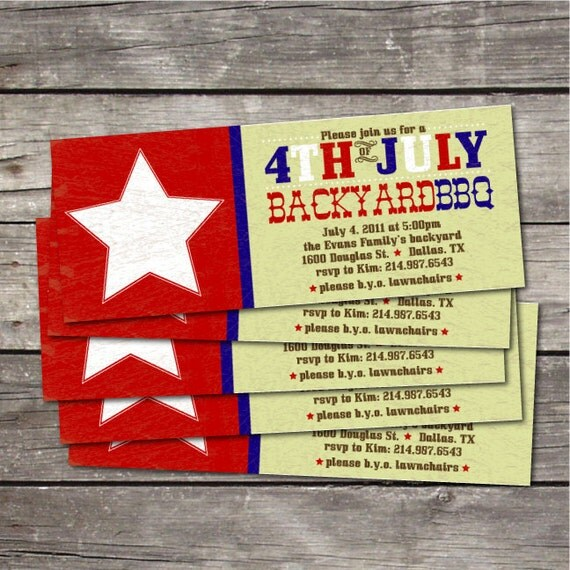 PRINTABLE 4th of July Backyard BBQ invitation