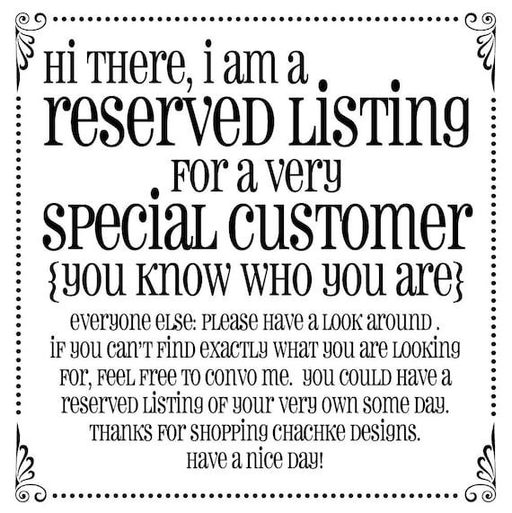 Reserved listing for Karen