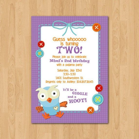 Items similar to printable giggle hoot owl birthday for Etsy owl wedding invitations