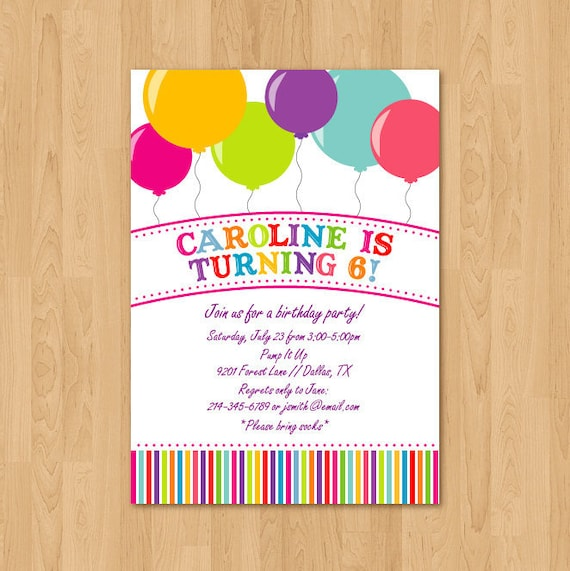 PRINTABLE Bright Balloon birthday party invitation