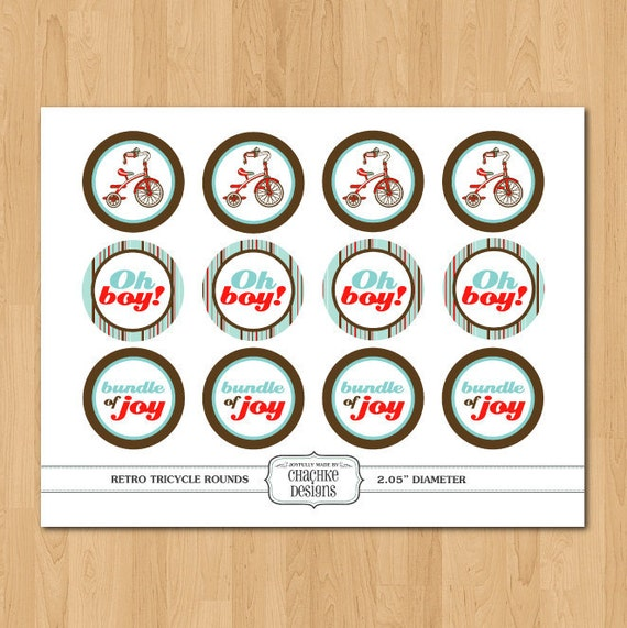 Printable 2 IN ROUND Retro tricycle cupcake toppers personalized for birthdays, showers, parties