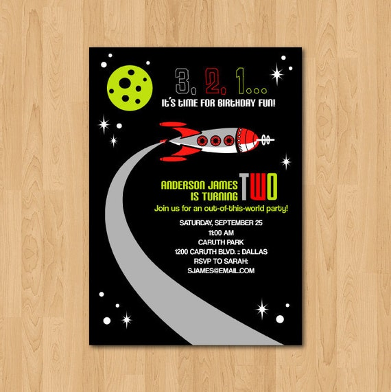 Items similar to printable space themed birthday party for Space themed stationery