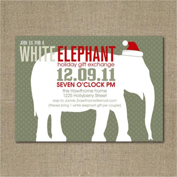 printable white elephant christmas party invitation, Party invitations
