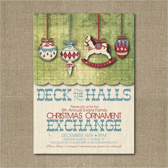 Printable Ornament Exchange Christmas Party Invitation