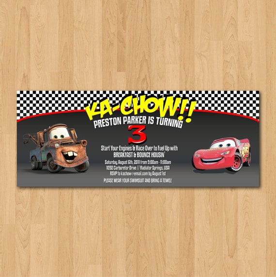 PRINTABLE Pixar Cars Lightning McQueen and Mater party invitation