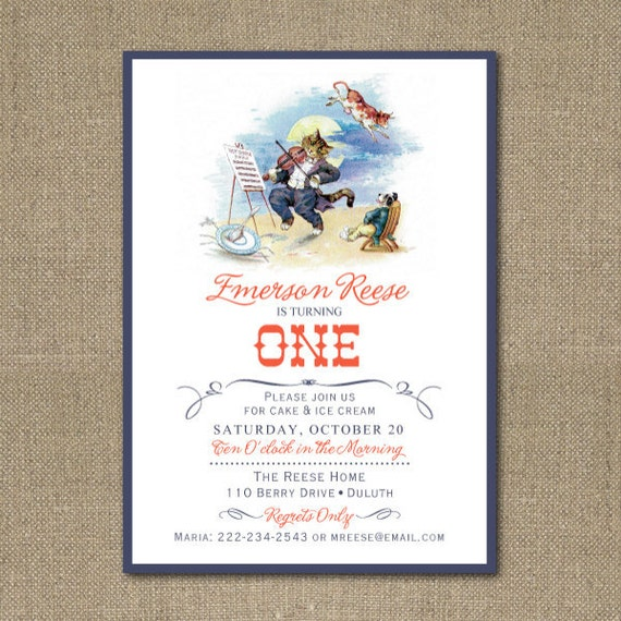 PRINTABLE Hey Diddle Diddle Birthday Party or Baby Shower Invitation