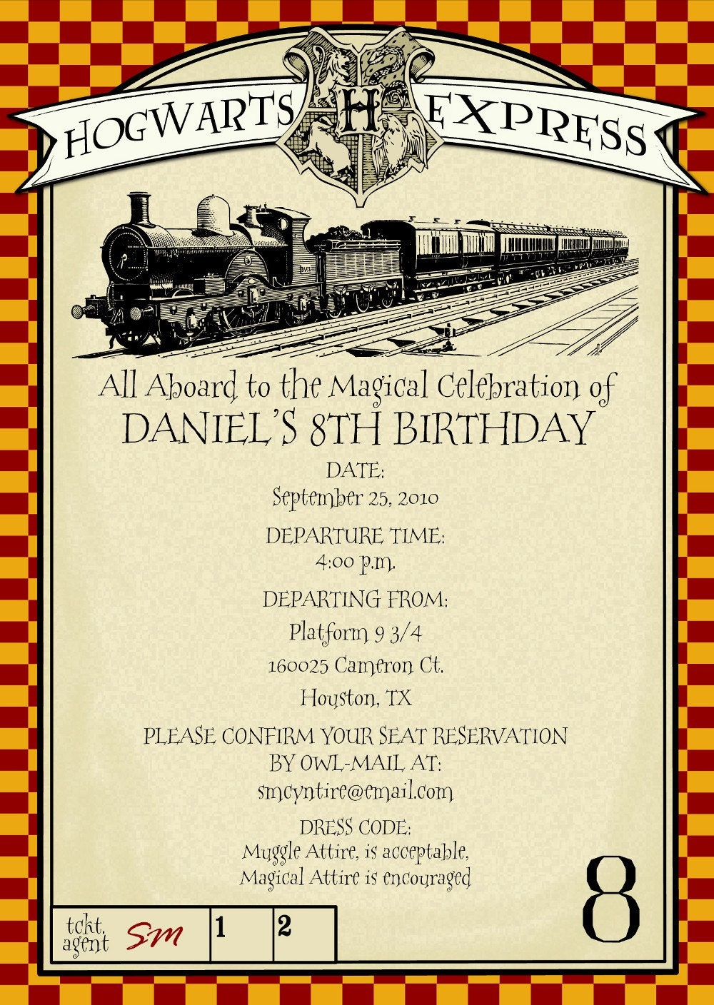 Printable Harry Potter Themed Party Invitation By