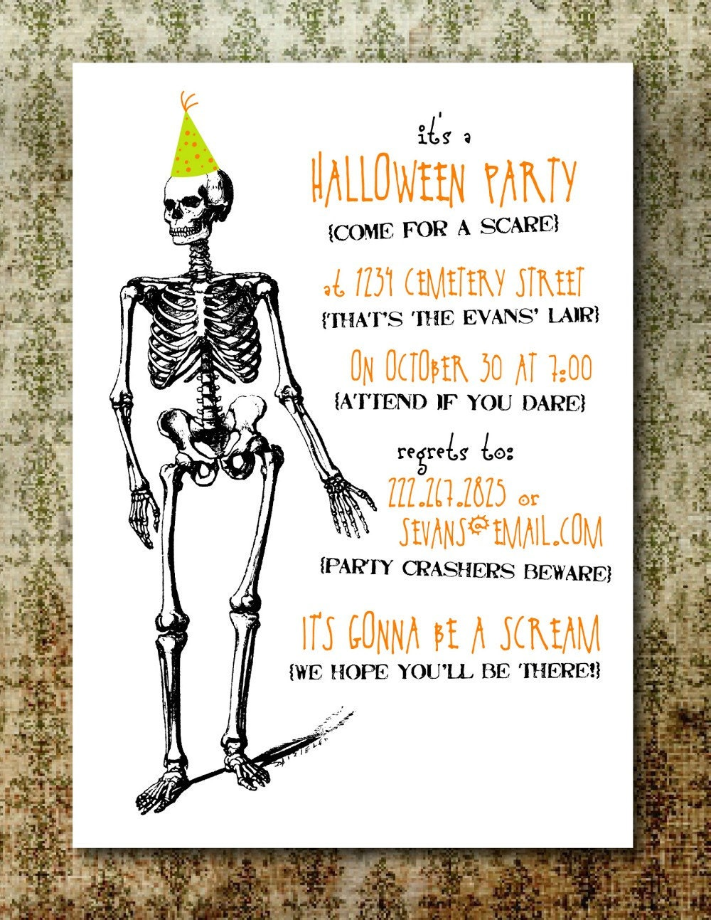 Impertinent image regarding free halloween invitation printable