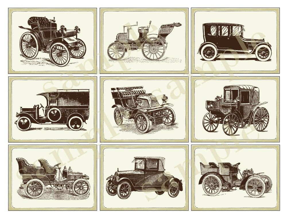 Printable Vintage Car Themed Gift Tags Stickers Cupcake