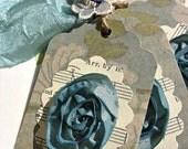 Victorian Teal Lovelies gift tags-teatime-kraft brown-flower-fall-garden-teal blue-hang tag-victorian-scrapbook-gift trimming-embellishment