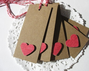 Valentine Red Heart Gift Tags by Pearliebird on Etsy-kraft brown-red-heart-love-cupid-Valentines Day