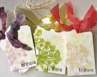 Pastel Dandelion Fairy Gift Tags-pink-yellow-lavender-purple-cream-hi there-garden-botanical