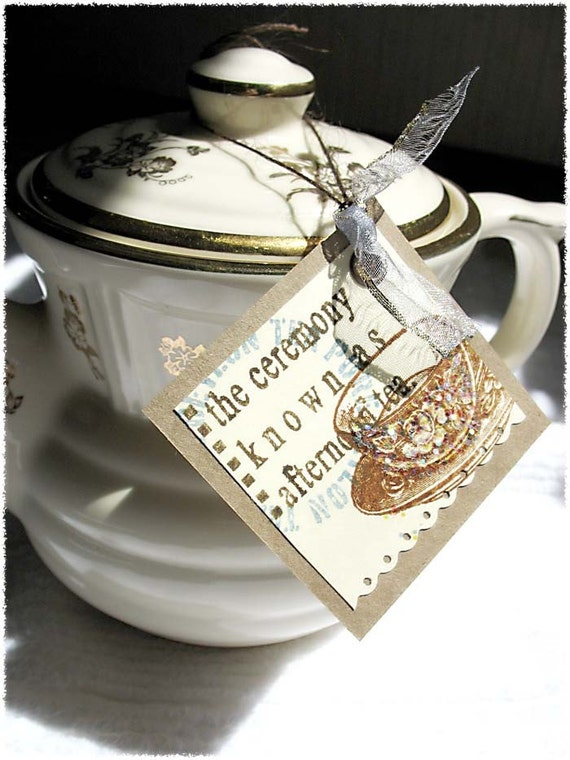 TeaLover Gift Tags-tea party-hang tag-teatime-brown-cream-handstamped-handmade