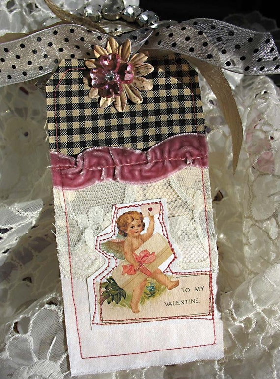 Shabby Chic Inspired Cottage Style Fabric Collage LARGE Tag-card-valentine-victorian-pink-mauve-heart-sweetheart-lace-white-cream-gold-black