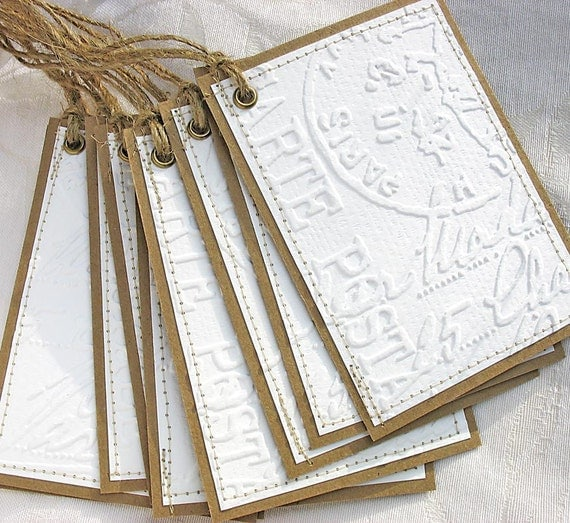 Paris Postal Embossed Large Gift Tags by Pearliebird-set of 10-white-kraft brown-rustic-French-Paris apartment-any occasion-shabby chic