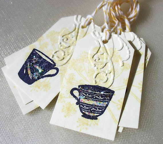 Tiny Glittery Teacup Gift Tags-butter yellow-eggplant purple-dandelion-garden tea-tea lover-dry emboss-coffee cup
