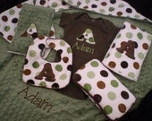 Baby Boy Gift Set - Olive/Brown Dot  Minky- Personalized Blanket, Dribble Bib, Onesie, 2 Burp Cloths and Wipe Case
