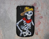 Half off SALE - Reg. 14 dollars now only 7 dollars - Skeleton Decorated BlackBerry Curve Cell Phone Case - Black