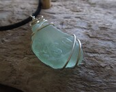 Big Aqua Sea Glass Chunk Necklace