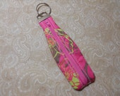 Pink Shadow Floral Zippered Key Fob