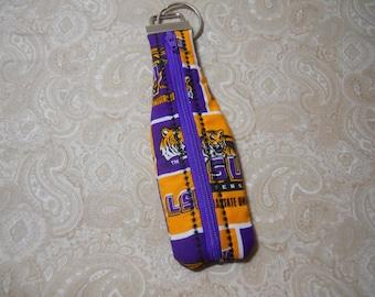 LSU Zippered Key Fob