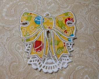 White Embroidery Christmas Bow  Ornament