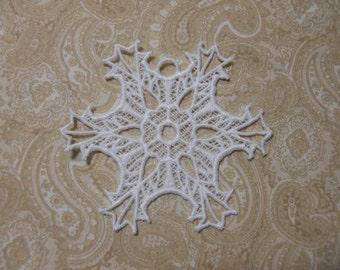 White Embroidery Christmas Ornament