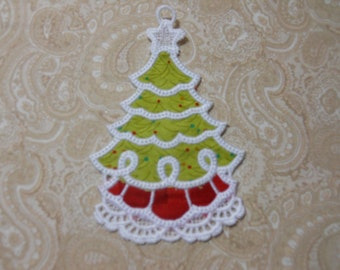 White Embroidery Christmas Tree  Ornament