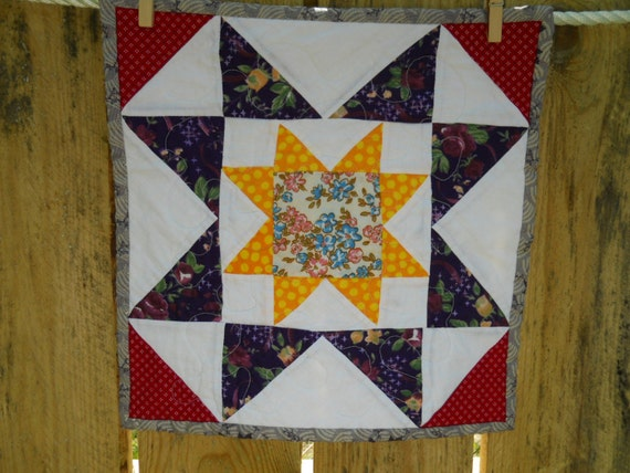 Beautiful Red, Yellow, Purple and White Star Mini Quilt