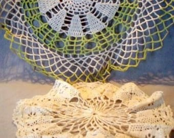 Two Vintage Circular Hand-Crocheted Doilies - Dainty and Pretty Mid Century Decor