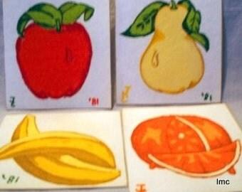 Juicy Fruit - Four (4) Original Art on Felt Squares - Artist Signed