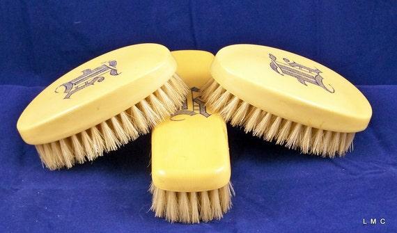 Vintage Bakelite/Celluloid Art Deco Butterscotch Vanity Dresser Brush Set - Monogrammed