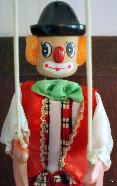 Vintage Wooden Marionette Clown Puppet