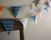 Teal, Orange, and Grey Mod Pennant Banner Bunting