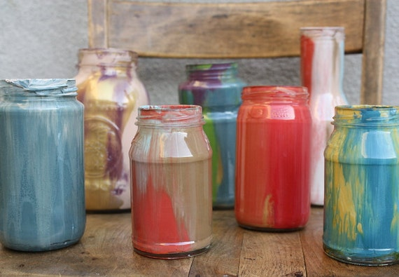 Colorful Glass Mason Jar in Nude Pink, Plum Purple, and Shimmering Gold