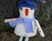 Sammy the Wooly White Winter Snowman Wool Cloth Doll