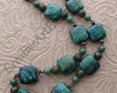 Reserved for Michelle - Green and Antique Bronze 20 1/2 inch Chunky Necklace